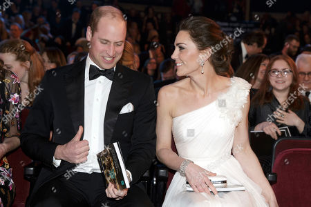 Prince William and Catherine Duchess of Cambridge arrive for the BAFTA 2019 Awards at The Royal Albert Hall