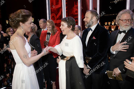 Catherine Duchess of Cambridge meets Olivia Colman, and director Yorgas Lanthimos, 2nd right, and writer Tony McNamara, right, after the BAFTA 2019 Awards at The Royal Albert Hall