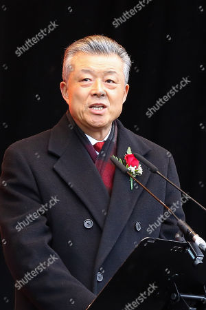 Stock Picture of Liu Xiaoming, the Chinese ambassador to the UK speaking during the Chinese New Year Celebrations - the Year of the Pig in Trafalgar Square.