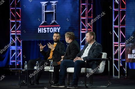 "Stock Image of Tom Cullen, Mark Hamill, Aaron Helbing. Tom Cullen, from left, Mark Hamill and Aaron Helbing participate in the ""Knightfall"" panel during the History portion of the TCA Winter Press Tour, in Pasadena, Calif"
