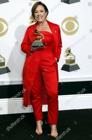 Claudia Brant poses in the press room with the Grammy for Best Latin Pop Album during the 61st annual Grammy Awards ceremony at the Staples Center in Los Angeles, California, USA, 10 February 2019.