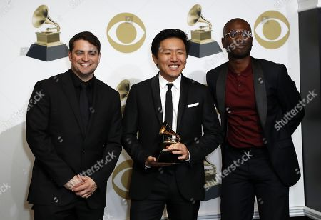 Stock Image of Jason Cole (L), Hiro Murai (C), and Ibra Ake (R) pose in the press room with the Grammy for Best Music Video during the 61st annual Grammy Awards ceremony at the Staples Center in Los Angeles, California, USA, 10 February 2019.
