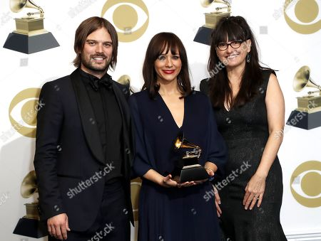 Alan Hicks (L), Rashida Jones (C), Paula DuPre Pesmen (R) pose in the press room with the Grammy for Best Music Film during the 61st annual Grammy Awards ceremony at the Staples Center in Los Angeles, California, USA, 10 February 2019.