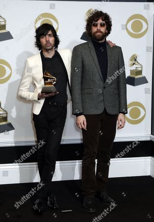 Stock Picture of Gaspard Auge (L) and Xavier De Rosnay (R) poses in the press room with the Grammy for Best Dance/ Electronic Album during the 61st annual Grammy Awards ceremony at the Staples Center in Los Angeles, California, USA, 10 February 2019.