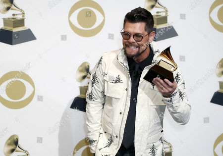 Jason Crabb poses in the press room with the Grammy for Best Roots Gospel Album during the 61st annual Grammy Awards ceremony at the Staples Center in Los Angeles, California, USA, 10 February 2019.