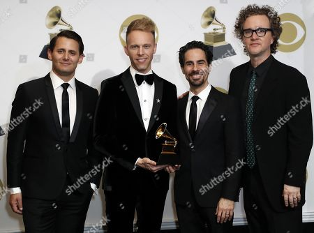 Benj Pasek, Paul Pasek, Alex Lacamoire and Greg Wells pose in the press room with the Grammy for Best Compilation Soundtrack for Visual Media during the 61st annual Grammy Awards ceremony at the Staples Center in Los Angeles, California, USA, 10 February 2019.