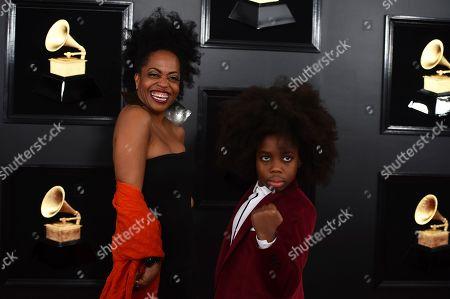 Rhonda Ross Kendrick, Raif-Henok Emmanuel Kendrick. Rhonda Ross Kendrick, left, and Raif-Henok Emmanuel Kendrick arrive at the 61st annual Grammy Awards at the Staples Center, in Los Angeles