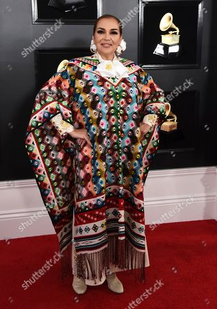 Aida Cuevas arrives at the 61st annual Grammy Awards at the Staples Center, in Los Angeles