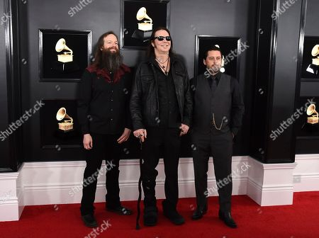 Stock Photo of Jeff Matz, Matt Pike, Des Kensel. Jeff Matz, Matt Pike and Des Kensel of High on Fire arrive at the 61st annual Grammy Awards at the Staples Center, in Los Angeles