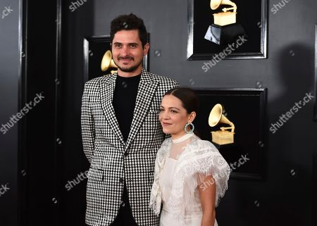 Natalia Lafourcade, right, and guest arrive at the 61st annual Grammy Awards at the Staples Center, in Los Angeles