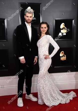 Stock Photo of Tucker Halpern, Sophie Hawley-Weld. Tucker Halpern, left, and Sophie Hawley-Weld of Sofi Tukker arrive at the 61st annual Grammy Awards at the Staples Center, in Los Angeles