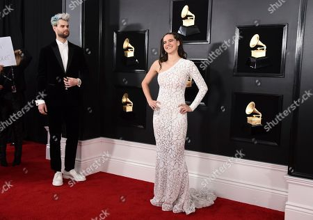 Stock Picture of Tucker Halpern, Sophie Hawley-Weld. Tucker Halpern, left, and Sophie Hawley-Weld of Sofi Tukker arrive at the 61st annual Grammy Awards at the Staples Center, in Los Angeles