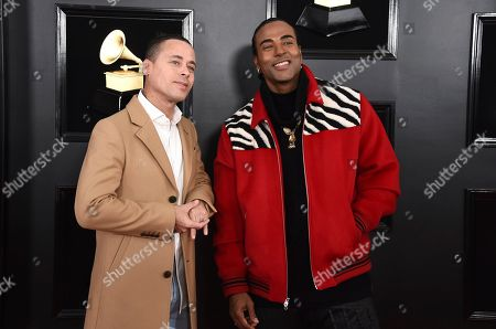 Stock Picture of Ruzzo Medina, Yotuel Romero. Ruzzo Medina, left, and Yotuel Romero, of Orishas, arrive at the 61st annual Grammy Awards at the Staples Center, in Los Angeles