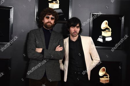 Stock Photo of Xavier de Rosnay, Gaspard Auge. Xavier de Rosnay, right, and Gaspard Auge, of Justice arrive at the 61st annual Grammy Awards at the Staples Center, in Los Angeles