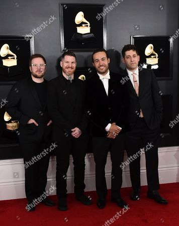 Stock Picture of Patrick Stump, Andy Hurley, Pete Wentz, Joe Trohman. Patrick Stump, from left, Andy Hurley, Pete Wentz, and Joe Trohman of Fall Out Boy arrive at the 61st annual Grammy Awards at the Staples Center, in Los Angeles