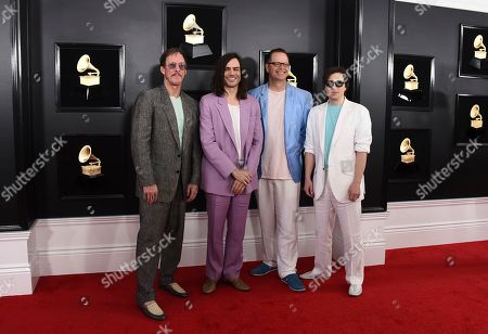 Rivers Cuomo, Brian Bell, Patrick Wilson, Scott Shriner. Rivers Cuomo, from left, Brian Bell, Patrick Wilson, and Scott Shriner of Weezer arrive at the 61st annual Grammy Awards at the Staples Center, in Los Angeles