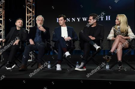 """Danny Cannon, Bruno Heller, Jack Bannon, Ben Aldridge, Paloma Faith participates in the """"Pennyworth"""" panel during the Epix portion of the TCA Winter Press Tour on Sunday, Feb.10, 2019, in Pasadena, Calif"""