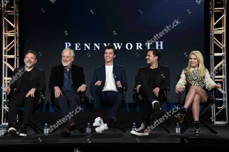 """Danny Cannon, Bruno Heller, Jack Bannon, Ben Aldridge, Paloma Faith. Danny Cannon, from left, Bruno Heller, Jack Bannon, Ben Aldridge and Paloma Faith participate in the """"Pennyworth"""" panel during the Epix portion of the TCA Winter Press Tour on Sunday, Feb.10, 2019, in Pasadena, Calif"""