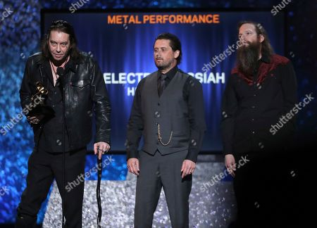 "Stock Image of Matt Pike, Des Kensel, Jeff Matz. Matt Pike, from left, Des Kensel and Jeff Matz, of Electric Messiah, accept the award for best metal performance for ""High On Fire"" at the 61st annual Grammy Awards, in Los Angeles"