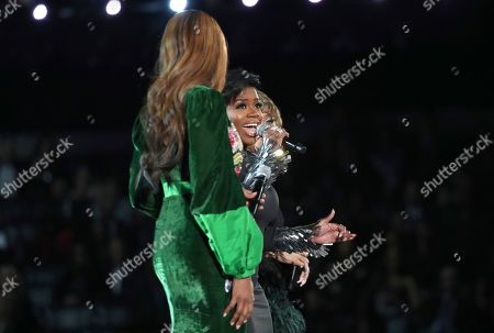 "Yolanda Adams, Andra Day, Fantasia. Yolanda Adams, from left, Fantasia and Andra Day perform ""(You Make Me Feel Like) A Natural Woman"" during a tribute to Aretha Franklin at the 61st annual Grammy Awards, in Los Angeles"