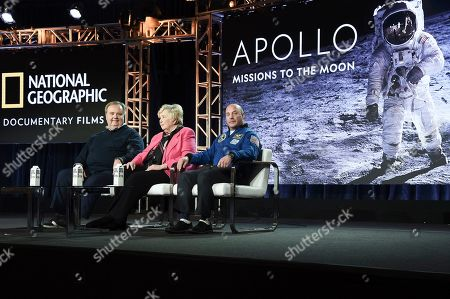 """Tom Jennings, Poppy Northcutt and Dr. Garrett Reisman. Guillermo Navarro, Martha Holmes, Bear Grylls, Tom Hugh-Jones and Mateo Willis the """"Apollo: Missions to the Moont"""" panel during the National Geographic portion of the TCA Winter Press Tour on Sunday, Feb.10, 2019, in Pasadena, Calif"""