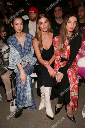 Tao Okamoto, Nina Agdal, Angela Sarafyan. Tao Okamoto, from left, Nina Agdal and Angela Sarafyan attend the Prabal Gurung Runway Show held at Spring Studios during New York Fashion Week, in New York