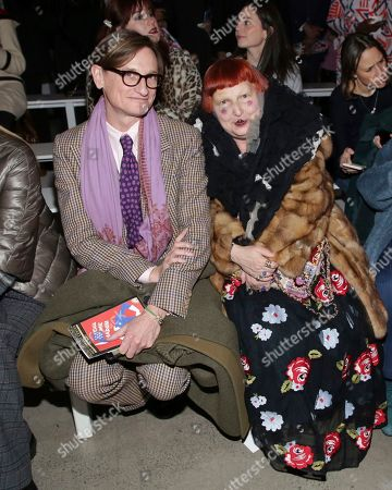 Hamish Bowles, Lynn Yaeger. Hamish Bowles, left, and Lynn Yaeger attend the Prabal Gurung Runway Show held at Spring Studios during New York Fashion Week on in New York