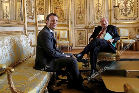 President Emmanuel Macron meets with Patrick Kanner. French President Emmanuel Macron meets with President of the Union centrist group at the French Senate Herve Marseille at the Elysee Palace in Paris, Friday Feb.8 2019. French President Macron is meeting with politicians to discuss his plans to hold a referendum aimed at appeasing the so-called Yellow Vests protestors
