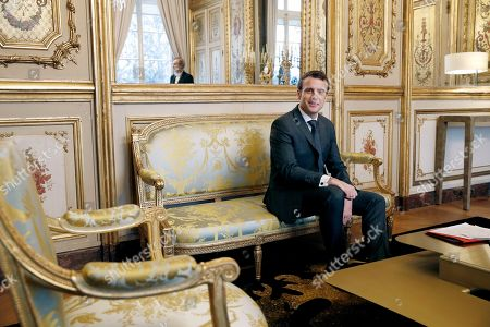 Stock Image of President Emmanuel Macron meets with Patrick Kanner. French President Emmanuel Macron meets with President of French socialist party group at the Senate Patrick Kanner at the Elysee Palace in Paris, Friday Feb.8 2019. French President Macron is meeting with politicians to discuss his plans to hold a referendum aimed at appeasing the so-called Yellow Vests protestors