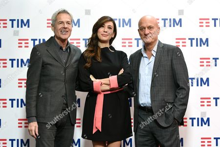 Claudio Baglioni, Virginia Raffaele, Claudio Bisio during the final press conference