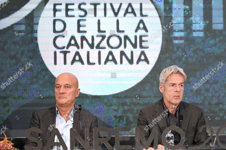 Claudio Bisio, Claudio Baglioni during the final press conference