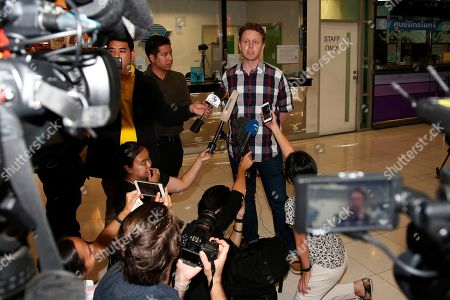 Stock Photo of Evan Jones of the Asia Pacific Refugees Rights Network, talks to journalists, in Bangkok, Thailand. A Thai court on Monday ordered the release of refugee soccer player Hakeem al-Araibi after prosecutors said they were no longer seeking his extradition to Bahrain, and al-Araibi is expected to return to Australia, where he has refugee status
