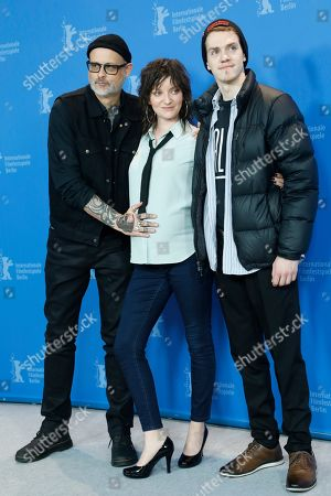 Denis Cote, actress Larissa Corriveau and actor Robert Naylor pose during the photocall of 'Ghost Town Anthology ' (Repertoire des villes disparues) during the 69th annual Berlin Film Festival, in Berlin, Germany, 11 February 2019. The movie is presented in the Official Competition at the Berlinale that runs from 07 to 17 February.
