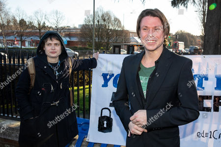 Lauri Love (R) and partner Sylvia Mann (L) arrive at Hendon Magistrates' Court. Love, an alleged hacker, is using the 'Police (Property) Act of 1897' to seek the return of his computers which were seized by police over five years ago. Last year, The High Court blocked Love's extradition to the United States.