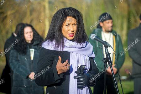 Dr Makaziwe Mandela speaking in Liverpool today. Nelson Mandela's eldest daughter Dr Makaziwe Mandela & his granddaughter Tukwini Mandela are visiting Princes Park in Liverpool this morning to see the location where a memorial to the former president will be built.