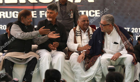 Stock Image of Member of Loktantrik Janata Dal party, Sharad Yadav (L), Andhra Pradesh Chief Minister N.Chandrababu Naidu (2-L), Founder of the Samajwadi Party Mulayam Singh Yadav (2-R) and Member of All India Trinamool Congress Derek O'Brien (R) present during a one day long fast of N.Chandrababu Naidu in New Delhi, India, 11 February 2019. According to the news reports, Andhra Pradesh Chief Minister N.Chandrababu Naidu sitting on a day long fast to demand Indian Government to give special status to Andhra Pradesh state to revive its economy after seperate state of Telangana came into existence from Andhra Pradesh. Various opposition political parties leaders joined to support Naidu.