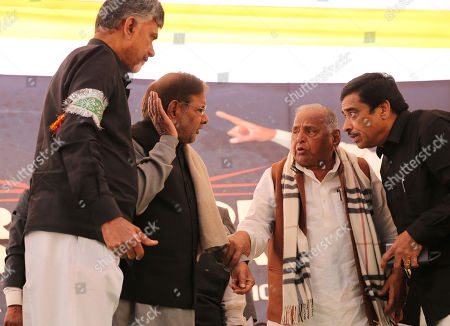 Stock Picture of Member of Loktantrik Janata Dal party, Sharad Yadav (2-L), Andhra Pradesh Chief Minister N.Chandrababu Naidu (L) and Founder of the Samajwadi Party Mulayam Singh Yadav (2-R) present during a one day long fast of N.Chandrababu Naidu in New Delhi, India, 11 February 2019. According to the news reports, Andhra Pradesh Chief Minister N.Chandrababu Naidu sitting on a day long fast to demand Indian Government to give special status to Andhra Pradesh state to revive its economy after seperate state of Telangana came into existence from Andhra Pradesh. Various opposition political parties leaders joined to support Naidu.