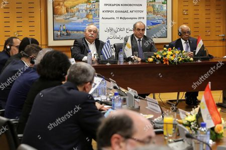 Stock Image of Demetris Syllouris, Ali Abdel-Aal, Nikos Voutsis. Cypriot Parliamentary Speaker Demetris Syllouris, center, with counterparts Ali Abdel-Aal of Egypt, right, and Nikos Voutsis of Greece, left, talk during a press conference i the parliament house in capital Nicosia, Cyprus, . Syllouris, Abdel-Aal and Voutsis agreed on strengthening cooperation especially in the fields of energy, tourism and education and culture