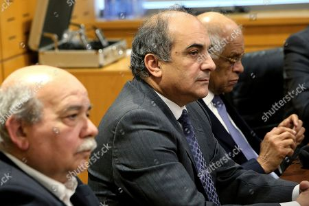 Demetris Syllouris, Ali Abdel-Aal, Nikos Voutsis. Cypriot Parliamentary Speaker Demetris Syllouris, center, with Egyptian counterpart Ali Abdel-Aal, right, and Nikos Voutsis of Greece, left, talk during a press conference in the parliament house in capital Nicosia, Cyprus, . Syllouris, Abdel-Aal and Voutsis agreed on strengthening cooperation especially in the fields of energy, tourism and education and culture