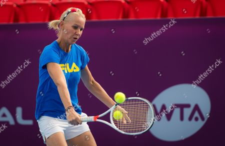 Rennae Stubbs during practice ahead of the 2019 Qatar Total Open WTA Premier tennis tournament