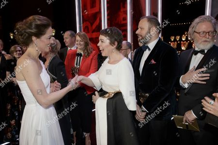 Catherine Duchess of Cambridge meets Olivia Colman, and director Yorgas Lanthimos, 2nd right, and writer Tony McNamara, right, after the BAFTA 2019 Awards