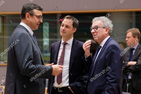 (L-R) Latvia?s Finance Minister Janis Reirs, Belgian Finance Minister Johan Van Overtveldt and Luxembourg's Finance Minister Pierre Gramegna during the Eurogroup Finance Ministers' meeting in Brussels, Belgium, 11 February 2018. The Europgroup will discuss the nomination for the upcoming European Central Bank ECB vacancy.