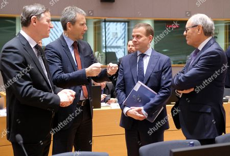 (L-R) Andrej Bertoncelj, Slovenian Finance Minister, Austrian Finance Minister Hartwig Loeger, Finnish Finance Minister Petteri Orpo and Malta's Finance Minister Edward Scicluna  during the Eurogroup Finance Ministers' meeting in Brussels, Belgium, 11 February 2018. The Europgroup will discuss the nomination for the upcoming European Central Bank ECB vacancy.