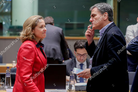 Spanish Economy Minister Nadia Calvino (L) and Greek Finance Minister Euclid Tsakalotos attend an extended EU Eurogroup meeting at the European Council in Brussels, Belgium, 11 February 2019.