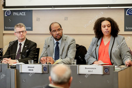 (L-R) Human rights experts Michal Balcerzak, Ahmed Reid and Dominique Day give a press conference of UN Expert Group on People of African Descent during a fact-finding visit to Belgium at the Residence Palace in Brussels, Belgium, 11 February 2019.