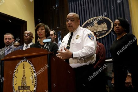 Michael Harrison, center, acting commissioner of the Baltimore Police Department, speaks at an introductory news conference, in Baltimore. Harrison, the former Superintendent of the New Orleans Police Department, started Monday as acting leader weeks before the city council is expected to vote on his nomination as permanent police commissioner