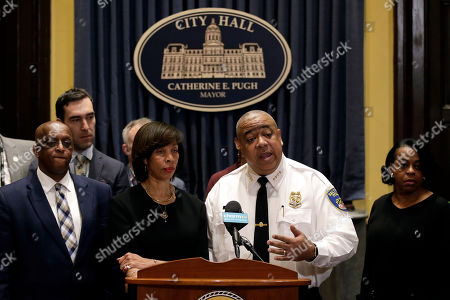Michael Harrison, right, acting commissioner of the Baltimore Police Department, speaks at an introductory news conference alongside Baltimore Mayor Catherine Pugh, in Baltimore. Harrison, the former Superintendent of the New Orleans Police Department, started Monday as acting leader weeks before the city council is expected to vote on his nomination as permanent police commissioner