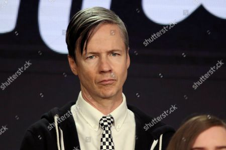 """John Cameron Mitchell participates in the """"Shrill"""" panel during the Hulu presentation at the Television Critics Association Winter Press Tour at The Langham Huntington, in Pasadena, Calif"""