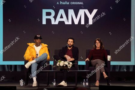 """Stock Image of Jerrod Carmichael, Ramy Youssef, Bridget Bedard. Jerrod Carmichael, from left, Ramy Youssef and Bridget Bedard participate in the """"Ramy"""" panel during the Hulu presentation at the Television Critics Association Winter Press Tour at The Langham Huntington, in Pasadena, Calif"""