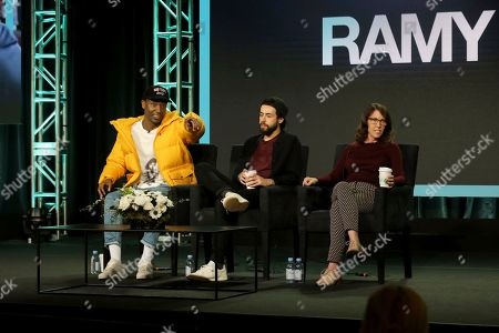 """Stock Photo of Jerrod Carmichael, Ramy Youssef, Bridget Bedard. Jerrod Carmichael, from left, Ramy Youssef and Bridget Bedard participate in the """"Ramy"""" panel during the Hulu presentation at the Television Critics Association Winter Press Tour at The Langham Huntington, in Pasadena, Calif"""